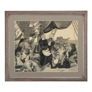 19th Century Columbus Sighting America Framed Jacquard Woven Tapestry For Sale