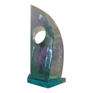 Modern Abstract Blue Shades Acrylic Sculpture by Young 1998 For Sale