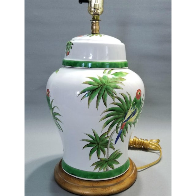 1990s Vintage Parrot and Palm Leaf Ceramic Ginger Jar Table Lamp - Mid Century Organic Modern Boho Chic Tropical Coastal MCM For Sale - Image 5 of 11