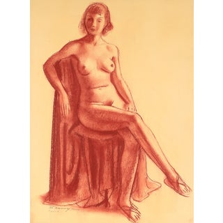 Seated Nude Pastel Drawing by C.F. Seavey For Sale