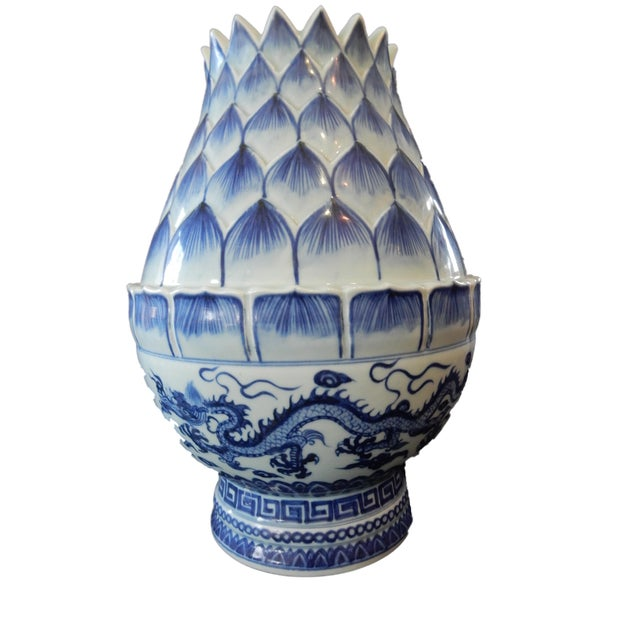 B & W Lotus Flower Vase w/Dragon For Sale - Image 9 of 10