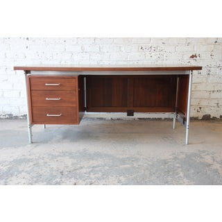 Jens Risom Mid-Century Modern Executive Desk in Walnut, Cane, and Steel Preview