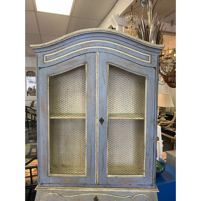 Vintage French Country Gustavian Blue Drop Front Secretary For Sale - Image 4 of 13
