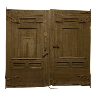 Antique Brown Painted Gate Doors, Grand Scale at 9' Wide For Sale