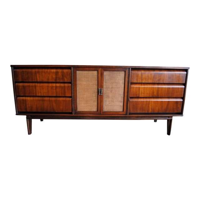 Mid Century Modern Walnut 9 Drawer Dresser - Image 1 of 10