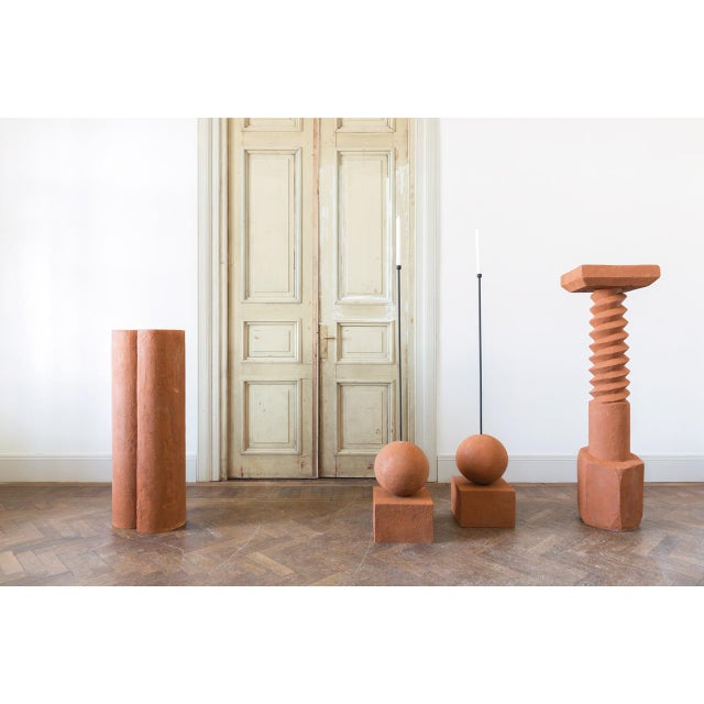 Modern Terracotta Pedestals, Hand Sculpted, Rooms For Sale - Image 3 of 6