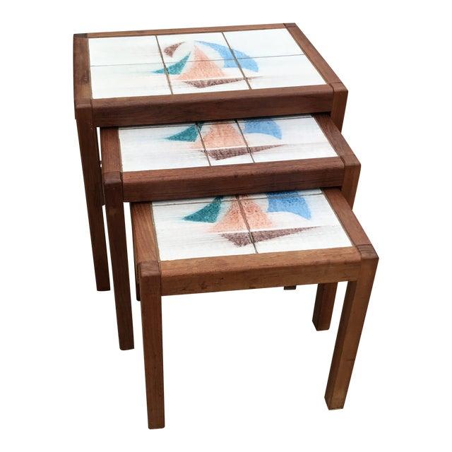 1970s Danish Modern Teak and Tile Top Nesting Tables - Set of 3 For Sale