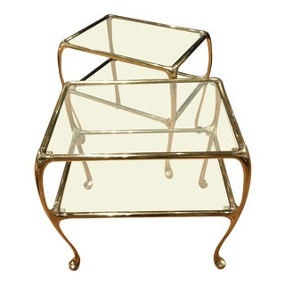 Pair of Two Tiered Glass Shelf Brass Side Tables For Sale