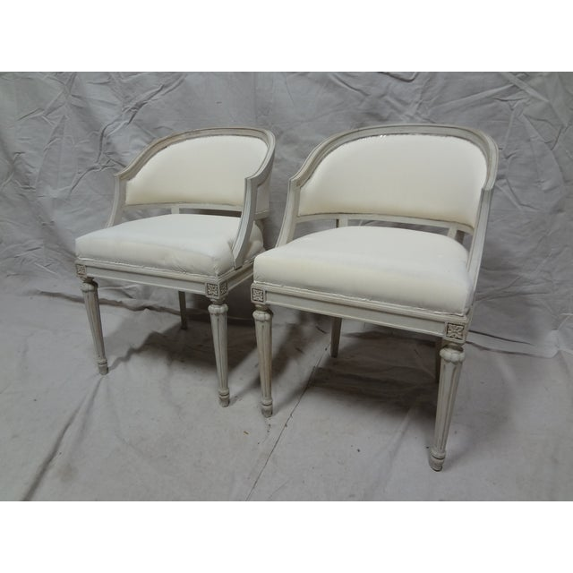 Swedish Gustavian Barrel Chairs - A Pair - Image 4 of 4