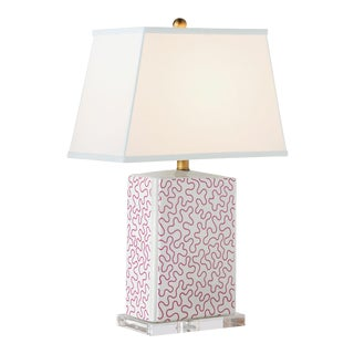 Madcap Cottage Red/White Porcelain Table Lamp For Sale