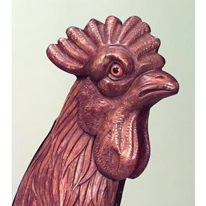 Carousel style (19/20th Cent) carved walnut monumental rooster figure on iron stand with brass pole