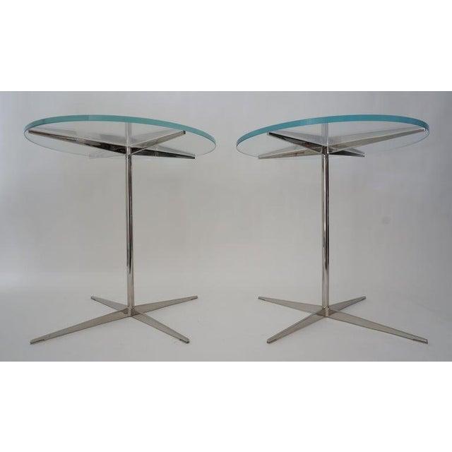 Modern Vintage Drinks or Side Tables Glass on Polished Steel Pedestal - a Pair For Sale - Image 3 of 12