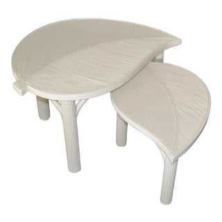 Hollywood Regency Two Leaf Shaped Bamboo & Pencil Reed Side Tables - a Pair For Sale