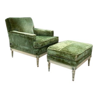 1940's Green Velvet Chair and Ottoman For Sale