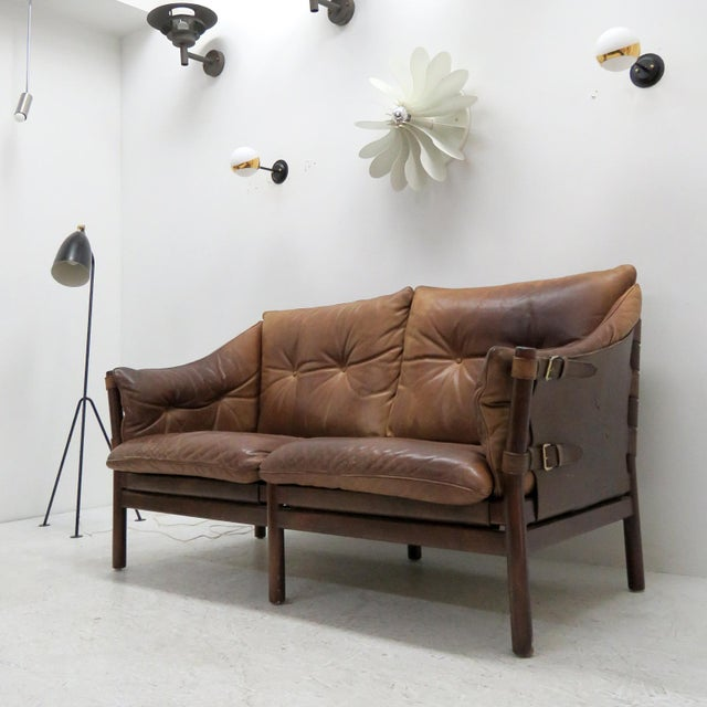 Brown 1960's Vintage 'Ilona' by Arne Norell Leather Settee For Sale - Image 8 of 13