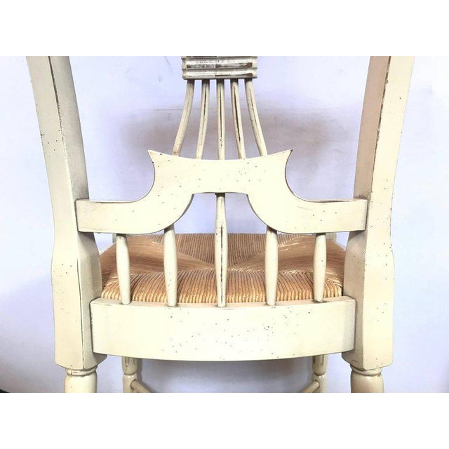 """Set of Six Distressed White Painted """"Italian"""" Rush Seat Side Chairs For Sale - Image 11 of 13"""