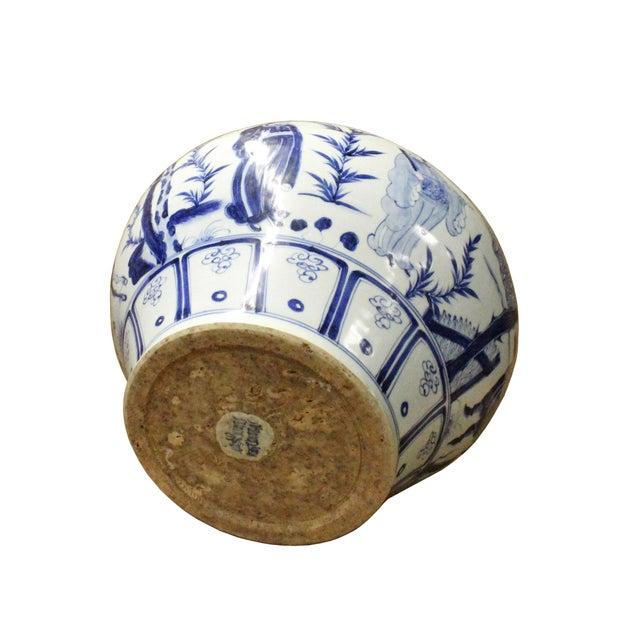 Chinese Blue White Porcelain People Scenery Fat Body Vase Jar - Image 5 of 7