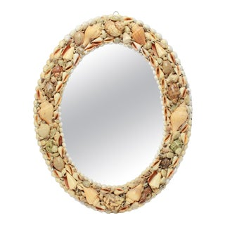 Mid-Century Modern Shell Frame Oval Wall Mirror For Sale