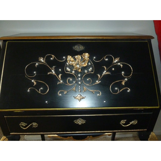 Abstract Expressionism 1920s French Country Ebony and Gold Leaf Secretary Desk and Chair. For Sale - Image 3 of 9