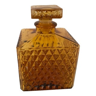 Mid-Century Modern Gold Square Decanter With Stopper