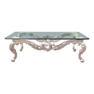 Country French Wood Carved Coffee Table For Sale