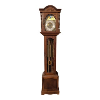 1980s Emperor Grandfather Clock with Franz Hermle Westminster 8-Day Calendar Movement For Sale