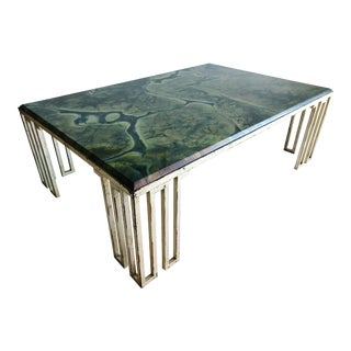 Jean Royere Style Iranian Marble Silver/Gold Leaf Coffee Table For Sale