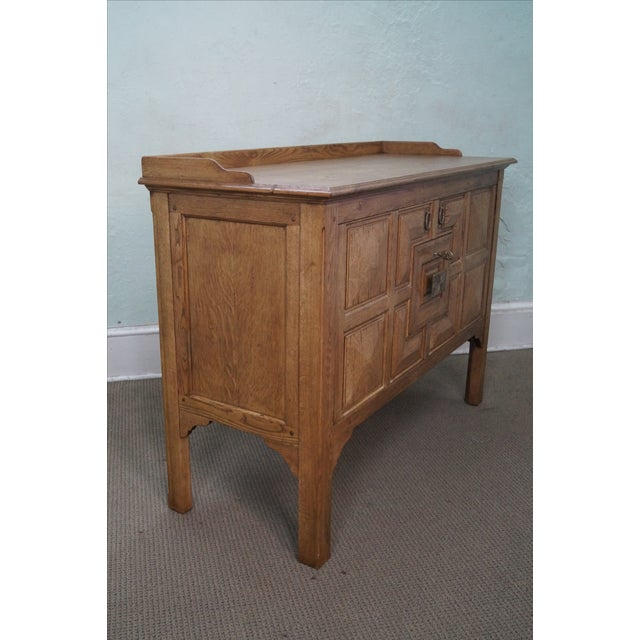 Country Jonathan Charles Linenfold Natural Oak Sideboard For Sale - Image 3 of 10