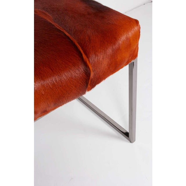 2010s Organic Modern African Springbok Fur Bench in Burnt-Orange For Sale - Image 5 of 12