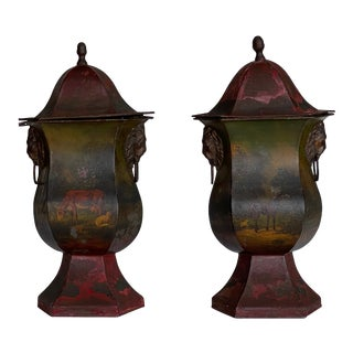 Antique Painted Tole Urns - a Pair For Sale