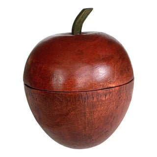 Early 20th Century Primitive Wooden Apple Shaped Box For Sale