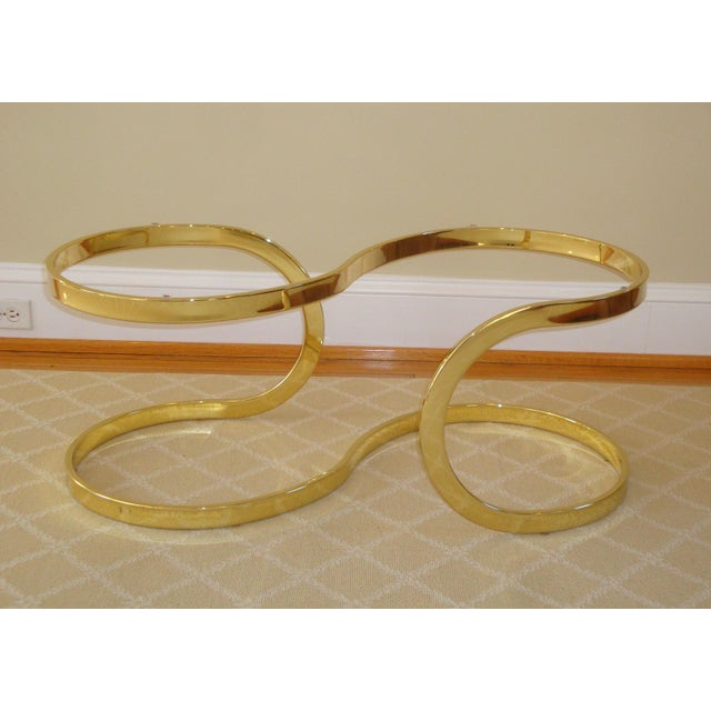 Brass Brass Ribbon and Glass Coffee Table after Milo Baughman For Sale - Image 7 of 9