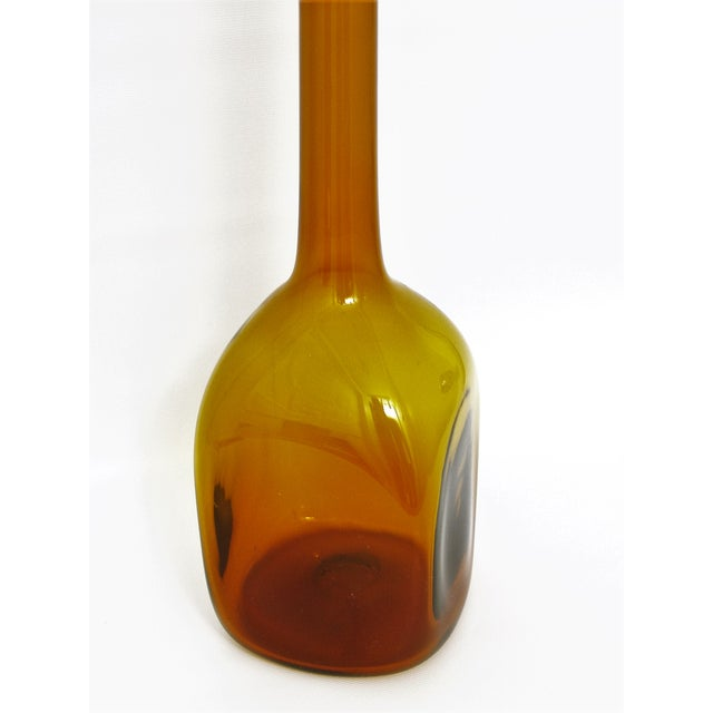 Vintage Italian Murano Amber Glass Decanter With Stopper Venetian Vase Bottle Italy Mid Century Modern For Sale - Image 9 of 11