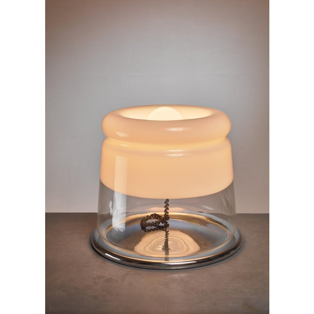 Italian Large Glass and Metal Table Lamp / Floor Lamp, Italy For Sale - Image 3 of 3