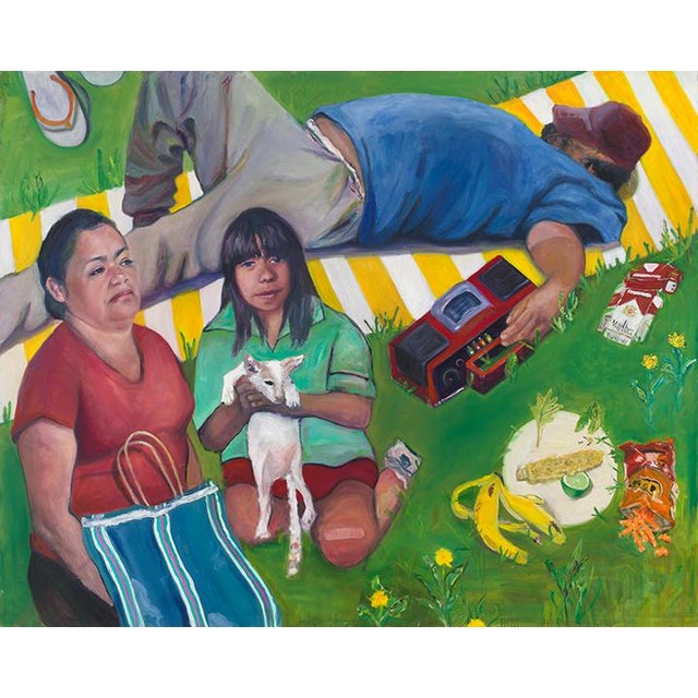 2010s Contemporary Portrait of People in Park Painting For Sale - Image 5 of 5
