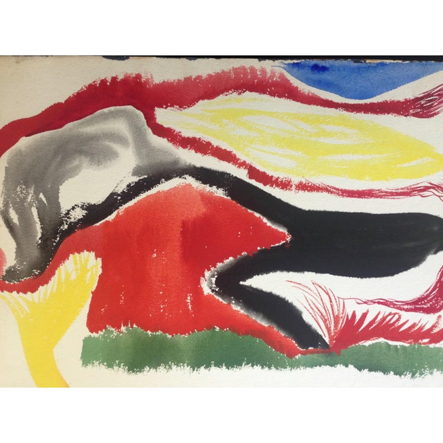 1950s Jo Landor Mid Century Abstract Red Mountain For Sale - Image 4 of 6