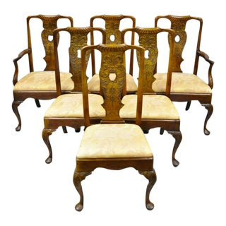 Vintage Henredon Aston Court Carved Wood Oriental Georgian Dining Chairs- 6 Pieces For Sale