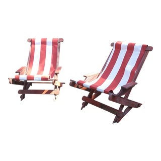 Pair of Vintage Red Striped Lawn Sling Chairs