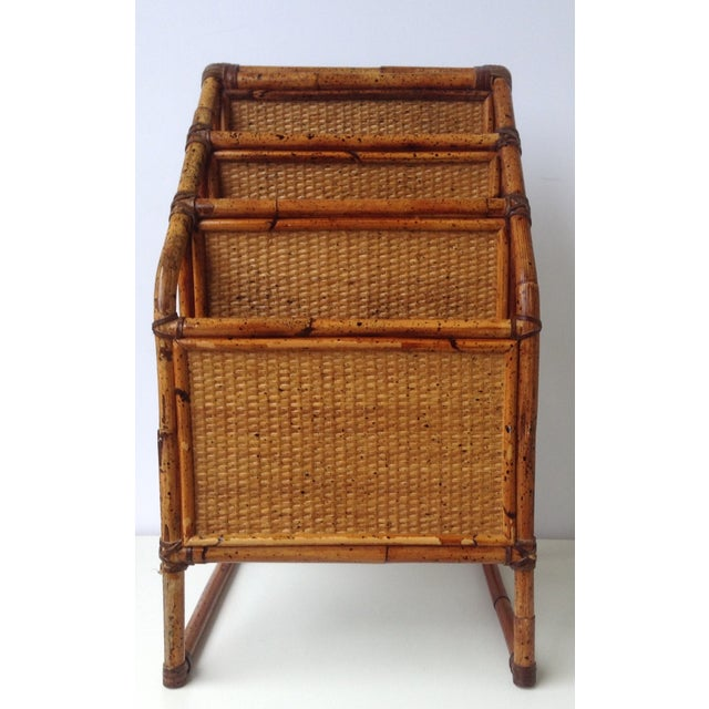 Vintage Bamboo Leather-Wrapped Magazine Stand - Image 4 of 11