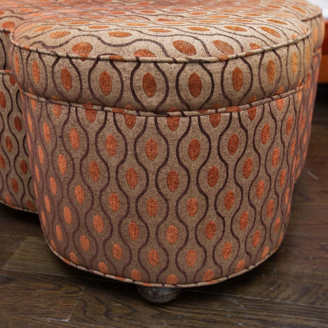 Mid-Century Modern Trefoil Shaped Upholstered Ottoman For Sale - Image 3 of 6