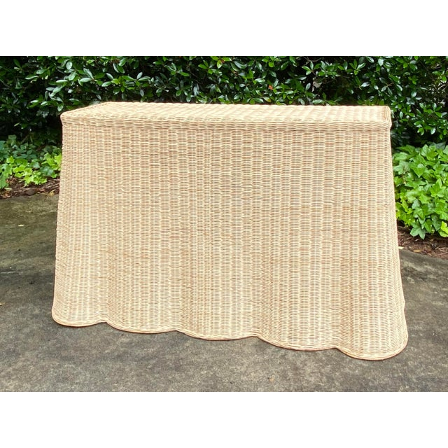 Natural Rattan Trompe l'Oeil Console Table For Sale - Image 13 of 13