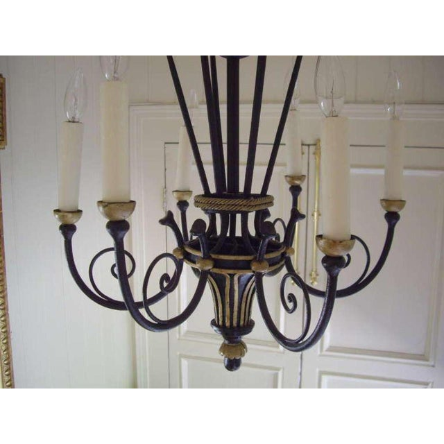 French Empire Style Six Light Chandelier For Sale - Image 4 of 7