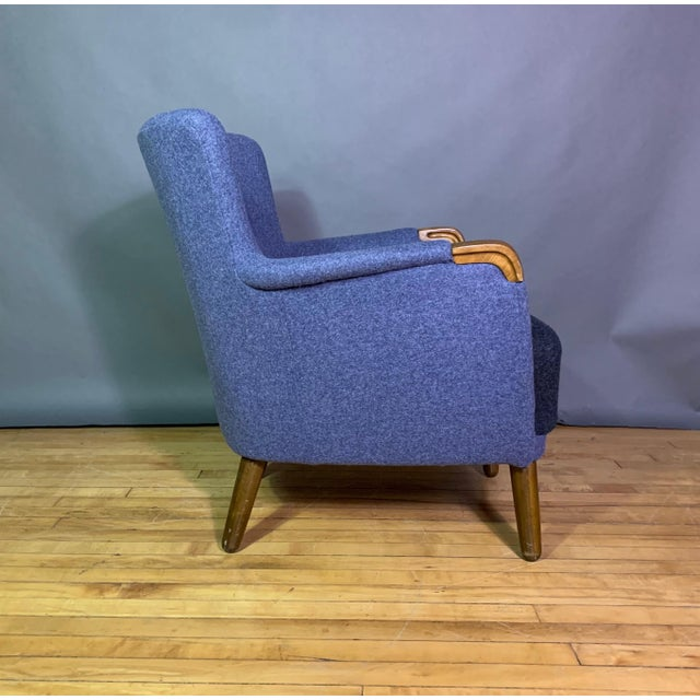 1950s Danish Armchair, New Kvadrat Felted Wool Upholstery For Sale - Image 9 of 11