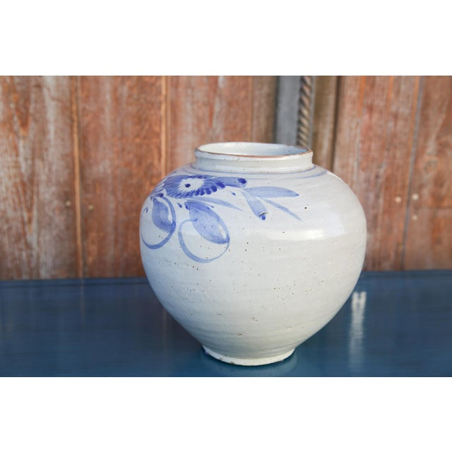 Blue and White Asian Glazed Pot For Sale - Image 4 of 8