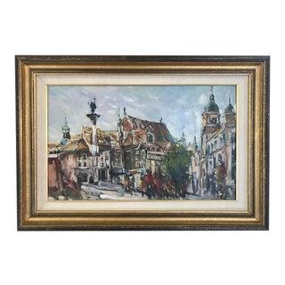 Antique European Cityscape Oil Painting For Sale