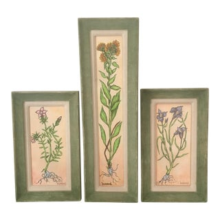 Vintage Mid-Century Floral Signed & Framed Paintings - Set of 3 For Sale