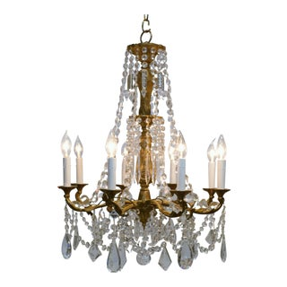 8-Light Rococo Style Brass & Crystal Chandelier, Circa:1930, Sweden For Sale