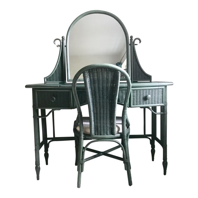 Lane Furniture Co. Rattan Cheval Mirrored Vanity Dressing Table & Chair Set - Image 1 of 11