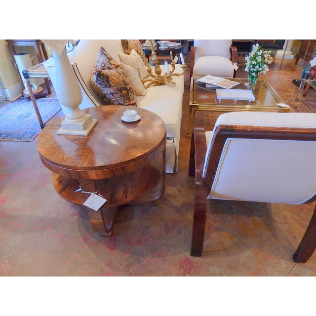 Art Deco Walnut Round Side Table For Sale - Image 4 of 6