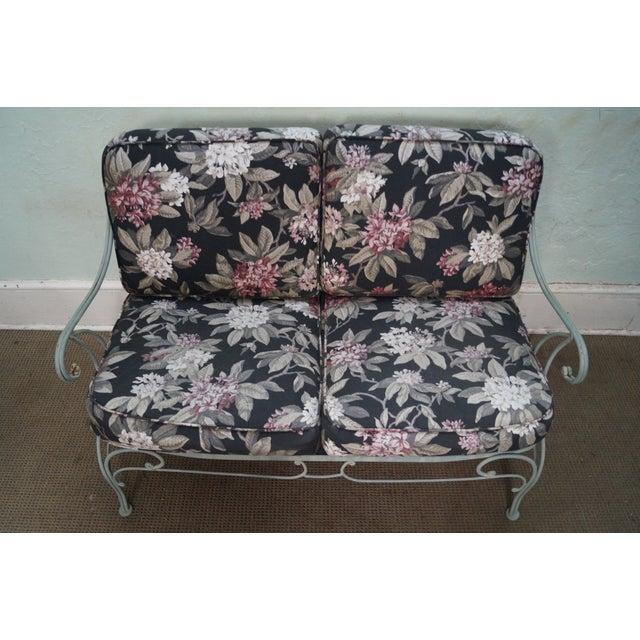 Custom Floral Cushion Iron Patio Settee - Image 5 of 10